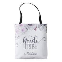 #bridesmaid - #Lavender & Gray Floral Bride Tribe Monogram Tote Bag
