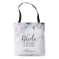 #bridesmaid - #Lavender & Gray Floral Bride Tribe Monogram Tote Bag