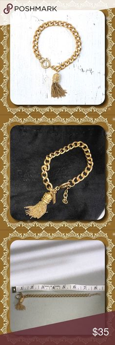 "Rachel Zoe Gold Tone Tassel Bracelet This gold tone chain link fashion bracelet is from the Rachel Zoe 2016 Box of Style. Features a gold tone tassel and 1/2 "" extension. Total length is just under 8"". Includes dust cover, never worn. Rachel Zoe Jewelry Bracelets"