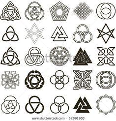 stock vector : Set of symbols icons vector. Tattoo design set.