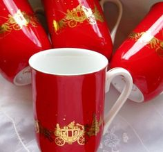 Exquisite Shiny Red Otagiri Embossed Gold Christmas by ChinaGalore, $60.00