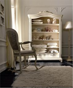 Gorgeous open armoire and rocking chair - my nursery would have these!
