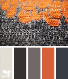 Would make for nice quilt colours Color Palette - Paint Inspiration- Paint Colors- Paint Palette- Color- Design Inspiration Colour Pallette, Color Palate, Colour Schemes, Color Combos, Color Patterns, Orange Palette, Grey Palette, Modern Color Palette, Design Seeds