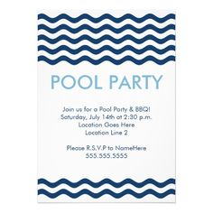 Modern Pool Party Invitations