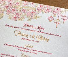 Asian and Vietnamese wedding reception menu with floral paisley and wedding lanterns.    Invitations by Ajalon   invitationsbyajalon.com