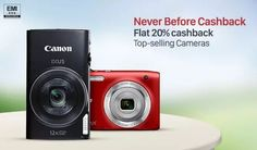 Paytm is offering great discount and cashback offers on many branded digital camera like Canon, Nikon, Panasonic, Pentax, Sony. Use  latest paytm promo code to avail the offer and get 20% instant cashback on camera.