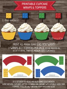 INSTANT DOWNLOAD  Lego Party Cupcake Toppers & wraps, Lego party decor ideas, by LaBelleStudio, $5.00