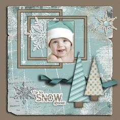 """Sweet """"Up to Snow Good"""" Scrapbooking Page...with shabby edged papers  snowflakes.  By Pennysan - Scrapbook.com"""