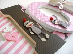 Pink Sock Monkey Wooden Wall Nursery Letters for by LetterLuxe @Ashley Walters Tucker