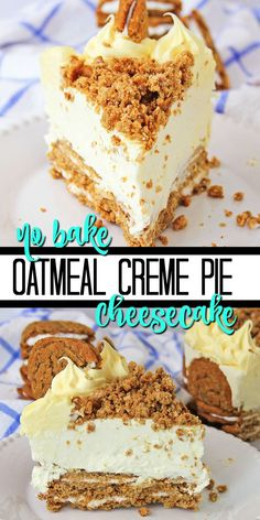Growing up oatmeal creme pies were what dreams were made of. Delicious and the perfect homemade treat. But we've recently revamped this recipe to turn that beloved taste into an Oatmeal Creme Pie Cheesecake. No Bake Desserts, Just Desserts, Delicious Desserts, Yummy Food, Health Desserts, Dessert Recipes, Homemade Cheesecake, Easy Cheesecake Recipes, Cheesecake Bites