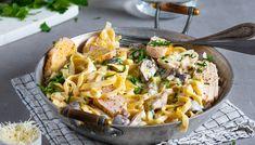 Kremet pasta med kylling og sopp | Oppskrift | Meny.no Parmesan, Ethnic Recipes, Food, Essen, Meals, Yemek, Eten, Parmigiano Reggiano