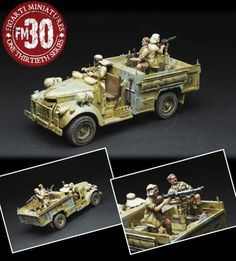 World War II British Army B38032NAF Long Range Desert Group Chevrolet set - Made by Figarti Military Miniatures and Models. Factory made, hand assembled, painted and boxed in a padded decorative box. Excellent gift for the enthusiast.