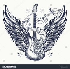 Guitar and wings tattoo. Electric guitar, roses, angel wings and music notes. - Guitar and wings tattoo. Electric guitar, roses, angel wings and music notes. Rock and roll t-shirt - Art Tattoo, Guitar Drawing, Music Note Tattoo, Wings Tattoo, Symbolic Tattoos, Rock Tattoo, Music Tattoos, Music Symbol Tattoo, Music Symbols