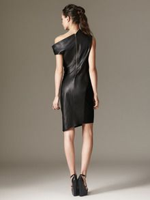 Back- Matte Leather Asymmetrical Dress by Helmut Lang at Gilt