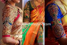 Peacock Maggam Work Blouse Designs For Silk Sarees – South India Fashion Peacock Blouse Designs, New Saree Blouse Designs, Blouse Designs Catalogue, Simple Blouse Designs, Bridal Blouse Designs, Blouse Patterns, Hand Work Blouse, Silk Sarees, India Fashion