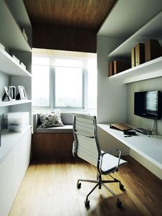 Mood Board Large: Setting up a home office | Home & Decor Singapore Space-planning. Don't just focus on where to put your desk, chair and shelving! Carve out a spot for relaxation too! That nook by the window is perfect for reading or even taking a short nap!