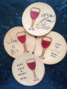 Wine Sayings Leather Coaster Set Handmade by YesterdaysWine, $20.00