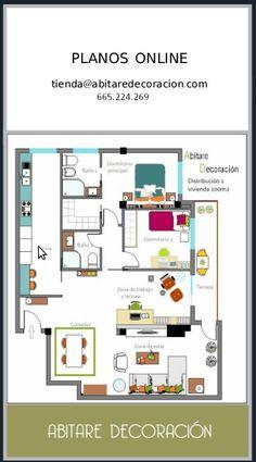 BLOG PLANOS ONLINE 5 soluciones a una vivienda de 100 metros cuadrados http://www.abitaredecoracionblog.com #planosonline #tiendaonline #decoracion #planos #distribuciondeunacasa #abitaredecoracion #blog
