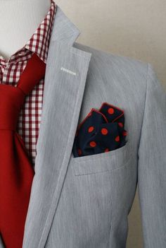 Men's Grey Blazer, White and Red Gingham Dress Shirt, Red Tie, Navy Polka Dot Pocket Square Sharp Dressed Man, Well Dressed Men, Red Shirt Dress, Men Dress, Dress Shirts, Look Fashion, Mens Fashion, Guy Fashion, Winter Fashion