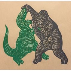Kaiju linocuts by Brian Reedy. King Kong, Gravure Illustration, Illustration Art, Graphic Design Illustration, Graphic Art, Totenkopf Tattoos, Skull Island, Illustrations And Posters, T Rex