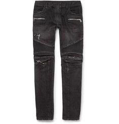 Balmain - Slim-Fit Distressed Denim Biker Jeans