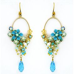 Hand-painted blue flowers joined by pearls & crystals. Chandelier Earrings, Beaded Earrings, Drop Earrings, Gold Earrings, Gold Chandelier, Vintage Jewelry, Unique Jewelry, Wedding Earrings, Cultured Pearls