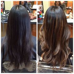 dark balayage before and after