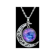 SheIn(sheinside) Purple Gemstone Silver Hollow Moon Necklace ($4.56) ❤ liked on Polyvore featuring jewelry, necklaces, purple, gemstone jewellery, purple jewellery, gem necklace, chain jewelry and silver necklace