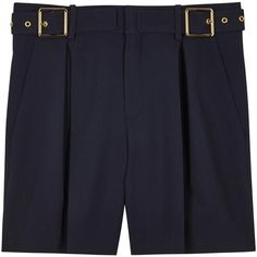 Womens Tailored Shorts Chloé Navy Pleated Crepe Shorts ($820) ❤ liked on Polyvore featuring shorts, navy shorts, navy blue shorts, navy slip, chloe shorts and pleated shorts