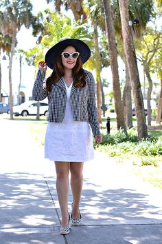 History In High Heels: Outfit: Gingham Moto Jacket