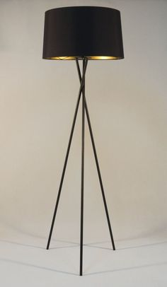 Handmade tripod floor lamp with black colored by DyankoffShop