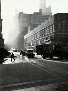 Sunrise, 43rd Street at Times Square, New York City, 1940. Lou Stoumen