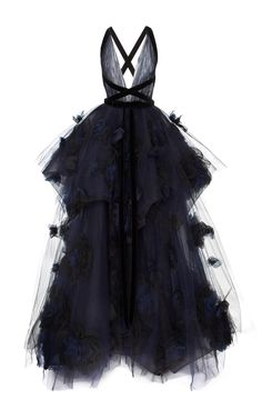 Tiered Ball-Gown With Silk Ombré Roses by MARCHESA for Preorder on Moda Operandi