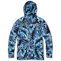 Monitaly Hooded Floral Mountain Parka (Hawaiian Blue)