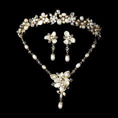 Opentip.com: Elegance by Carbonneau Set-NE8262-HP8147 Freshwater Pearl & Crystal Gold Bridal Necklace Earring & Tiara Set