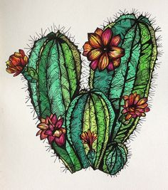 Bloomed Cacti Print by MountainMaidenDesign on Etsy