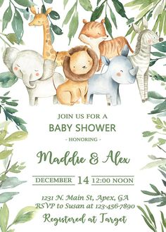 Safari Invitations, Baby Shower Invitations For Boys, Baby Shower Themes, Baby Shower Images, Safari Baby Shower Cake, Baby Shower Invitaciones, Jungle Safari, Jungle Animals, Diaper Cakes