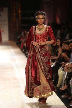 Velvet maroon Indian wedding suit salwar kameez by Anju Modi at Lakme Fashion Week Winter 2014. More here: http://www.indianweddingsite.com/lakme-fashion-week-winter-2014-anju-modi-collection/