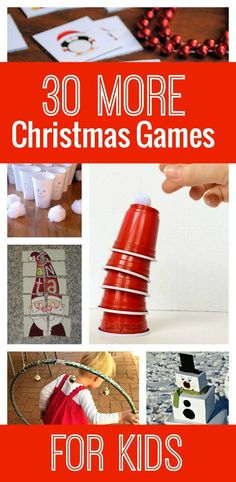 30 More Awesome Christmas Games for Kids : Looking for more awesome Christmas games for the kids? Check out these 30 Christmas games! These are perfect for family gatherings, winter boredom busters, or classroom parties! Xmas Games, Christmas Games For Kids, Holiday Games, Holiday Parties, Holiday Fun, Winter Parties, Holiday Foods, Parties Kids, School Christmas Party