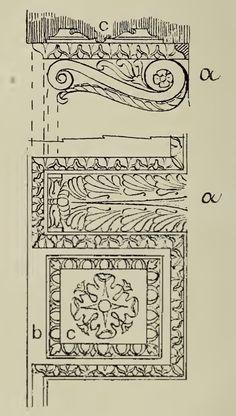 A) modiglione, b) lacunare e c) rosone