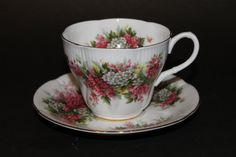 "ROYAL ALBERT Bone China Teacup and Saucer Set ""Blossom Time Series - Hawthorn"""