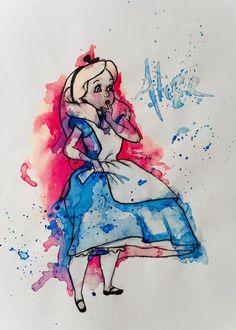 Alice in wonderland watercolor tattoo