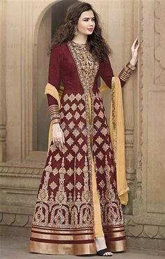 Maroon Silk Indo western dress style for online shopping