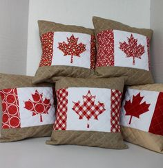 sewing pillows Daydreams of Quilts: Quilted Handmade Canadian Flag Pillows - Have needle, will sew. Flag Quilt, Quilt Blocks, Quilting Projects, Sewing Projects, Sewing Ideas, Quilting Ideas, Fun Projects, Sewing Hacks, Canadian Quilts