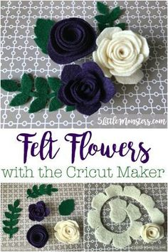 Felt flowers with the Cricut MakerFelt flowers with the Cricut Maker, ideal for headbands, hair clips or decorative accents.Make your own fridge magnets with a cricutWith your Cricut and this super easy tutorial you can Flower Crafts, Diy Flowers, Fabric Flowers, Paper Flowers, Crafts With Flowers, Felt Flowers Patterns, Crochet Flowers, Cricut Ideas, Cricut Tutorials