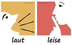 laut - leise - Adjektive - Deutsch Adjektive - deutsche Adjektive - Adjektive Deutsch - Adjektive Übungen - Adjektive Bilder