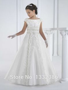 2015 A Line Long Vestidos de Comunion Ninas Beautiful White First Holy Communion Dress Gown For Girls With Cap Sleeves