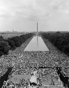 This photograph depicts another of my greatest heroes, Martin Luther King Jr. See him? Look close. No? That's the point. This humble negro minister [vernacular of the time, used here to further the point] originally had no ambition beyond serving his community and his family. It was the first of many parallels he was to share with Gandhi. When history came to town, he stepped up to face injustice. Eight short years later, he was down there. Somewhere. Speaking to hundreds of thousands.