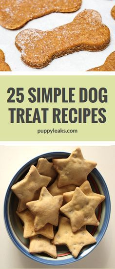 25 Quick & Easy Dog Treat Recipes. Looking to make some treats for your dog? Here's 25 homemade dog treat recipes, all made with 5 ingredients or less. From grain free to frozen, there's a treat that's right for every dog. #dogs #dogtreats #dogtreatrecipe #recipe