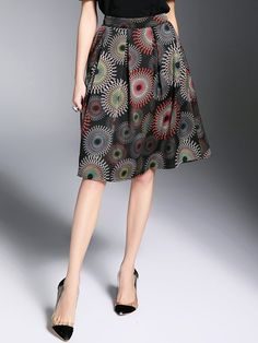 #AdoreWe #StyleWe Midi Skirts - Designer GOEASTRY Black Casual Floral-print Floral A-line Midi Skirt - AdoreWe.com